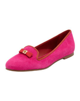 Tory Burch Mimi Suede Smoking Slipper, Dark Fuchsia