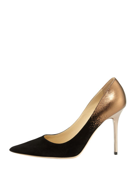 Abel Metallic Suede-Toe Pump, Black/Bronze