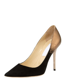 Jimmy Choo Abel Metallic Suede-Toe Pump, Black/Bronze
