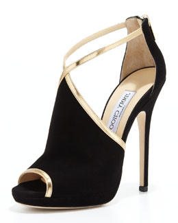Jimmy Choo Fey Peep-Toe Suede Sandal, Black/Gold