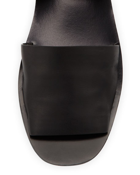 Sabine Leather Ankle-Wrap Sandal, Black