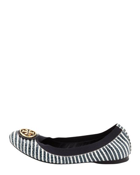 Caroline 2 Snake-Print Ballet Flat, Navy/Ivory