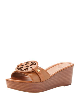 Tory Burch Madalena Wedge Slide, Vintage Vachetta