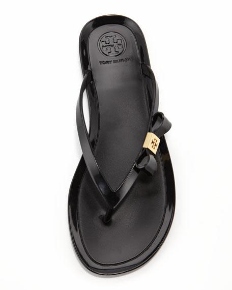 Michaela Bow Jelly Thong Sandal, Black