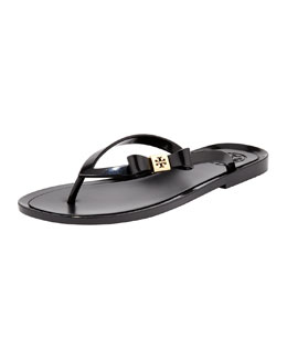 Tory Burch Michaela Bow Jelly Thong Sandal, Black