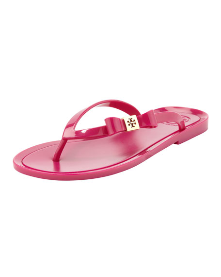 Michaela Bow Jelly Thong Sandal, Fuchsia