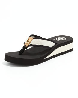 Tory Burch Ray Rubber Wedge Flip-Flop, Black/Ivory/Honey
