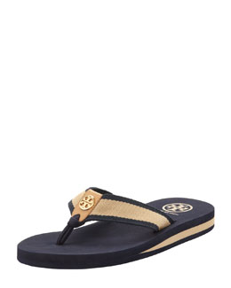 Tory Burch Ray Rubber Wedge Flip-Flop, Navy/Honey