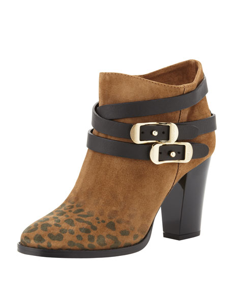 Melba Leopard-Print Suede Ankle Boot