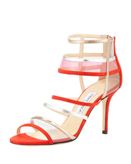 Jimmy Choo Mixer Strappy Cage Sandal, Orange