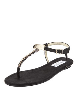 Jimmy Choo Nox Flat Crystal Thong Sandal, Black
