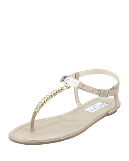 Jimmy Choo Nox Flat Crystal Thong Sandal, Gold