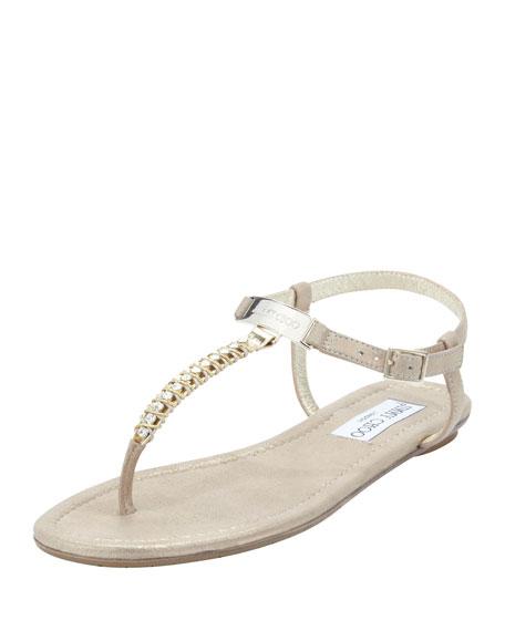 Nox Flat Crystal Thong Sandal, Gold