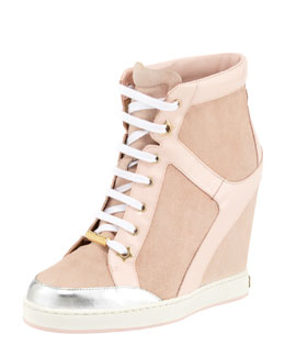 Jimmy Choo Panama Suede-Patent Wedge Sneaker, Light Pink