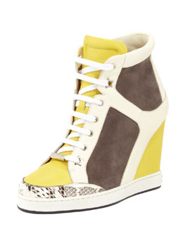 Jimmy Choo Panama Suede-Patent Wedge Sneaker, Pebble/Yellow