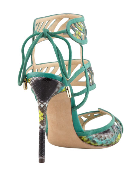 Double Ankle-Wrap Sandal, Navy/Cactus