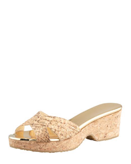 Jimmy Choo Panna Snake-Print Cork Slide, Natural/Gold