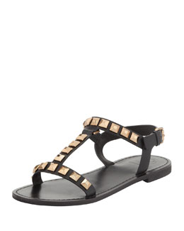 Tory Burch Kenna Studded Leather Sandal, Black