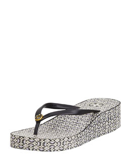 Tory Burch Thandie Rubber Wedge Flip Flop, Black Multi