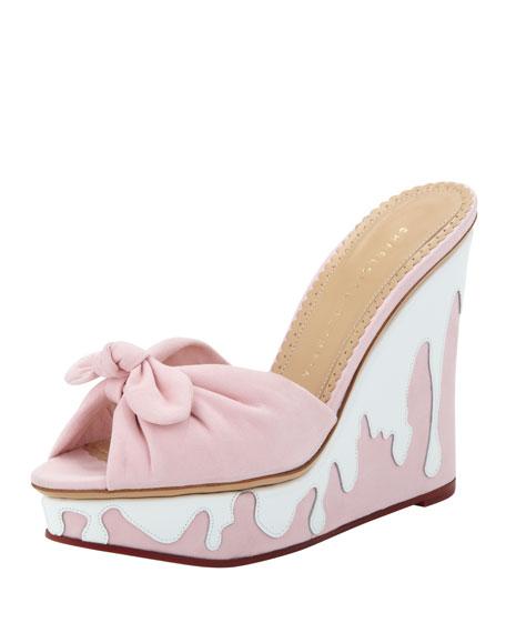Jayne Sundae Suede Wedge, Pink/White