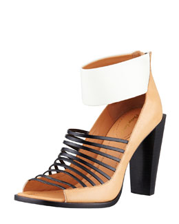 3.1 Phillip Lim Dede Strappy Open-Toe Bootie, Bone