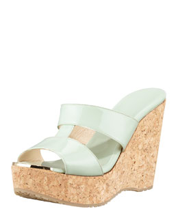 Jimmy Choo Porter Patent Leather Wedge Sandal, Green
