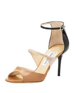 Jimmy Choo Rambo Triple-Strap Sandal, Black/Brown