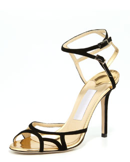 Jimmy Choo Rocks Ankle-Wrap Open-Toe Sandal, Black Gold