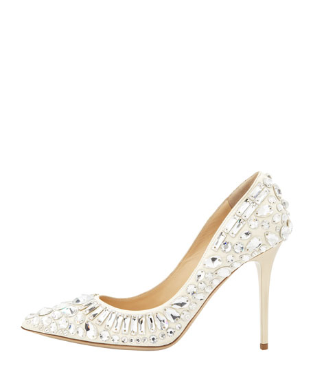 Trina Pointy-Toe Jewel Pump, White