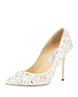 Jimmy Choo Trina Pointy-Toe Jewel Pump, White
