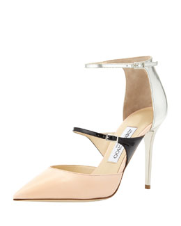 Jimmy Choo Typhoon Strappy Point-Toe Pump, Pink/Black/Silver