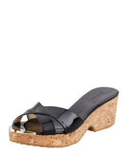 Jimmy Choo Panna Patent Crisscross Slide Sandal, Black