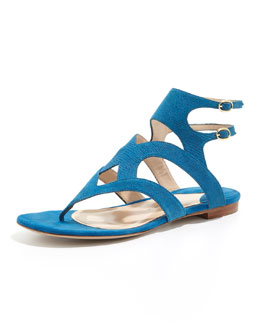 Paul Andrew Sahara Double-Strap Thong Sandal, Royal Blue