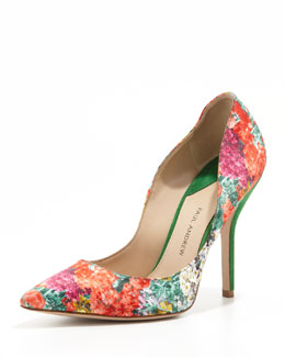 Paul Andrew Silk Floral-Print Pointy Pump, Poppy/Peridot