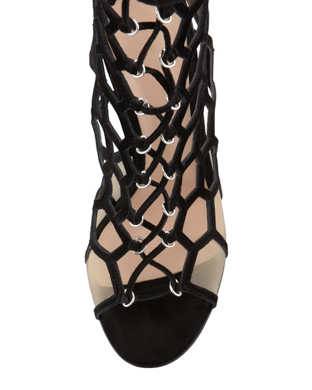 Lace-Up Honeycomb Open-Toe Bootie, Black