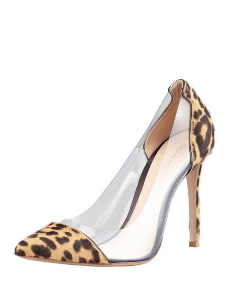 Leopard-Print Calf Hair-PVC Pump