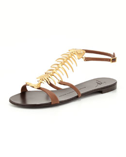 Giuseppe Zanotti Fish Bone Flat Sandal, Brown/Gold