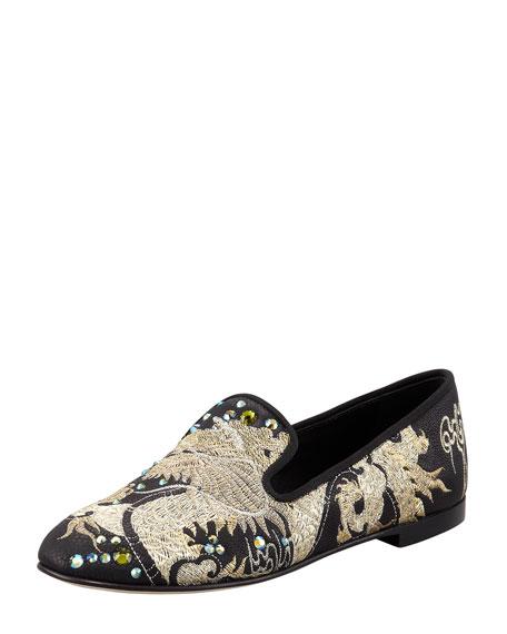Embroidered Crystal Dragon Loafer, Black