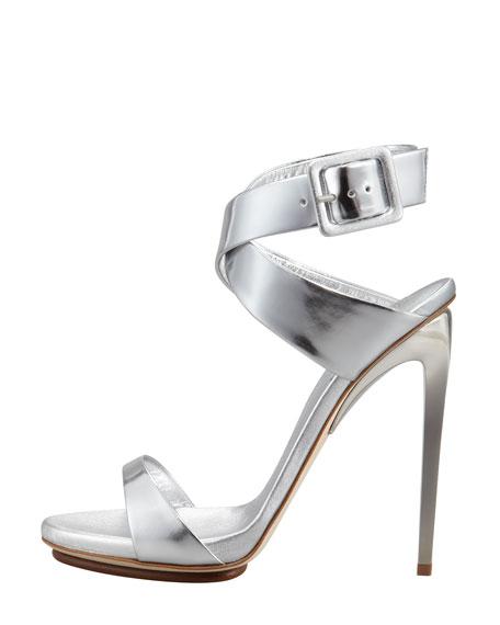 Big-Buckle Ankle-Wrap High-Heel Sandal, Silver