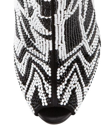 Crystallized Peep-Toe Bootie, Black/White