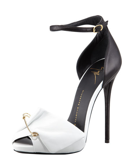 8283fbe7f7c42 Giuseppe Zanotti Safety Pin Leather Sandal, Black/White