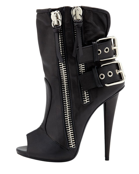 Double-Buckle Biker Peep-Toe Bootie, Black
