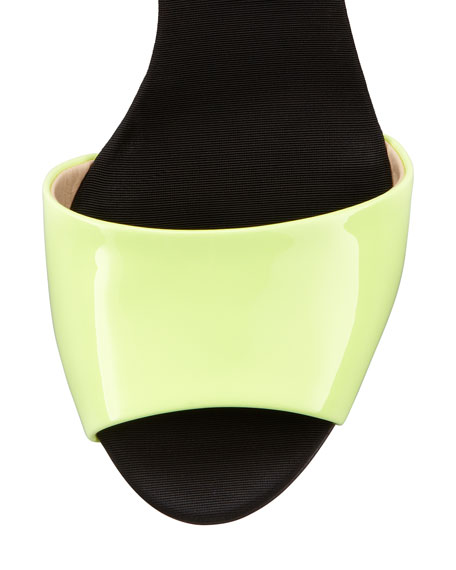 Mid-Heel Neon Sandal, Yellow