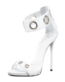 Giuseppe Zanotti Eyelet Ankle-Wrap Leather Sandal, White