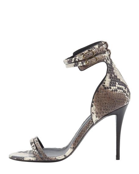 Snake-Print Ankle Wrap Sandal, Gray