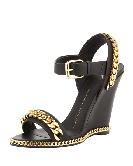 Chain Link Leather Wedge Sandal, Black