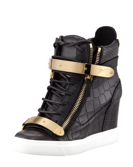 Croc-Embossed Metal-Strap Wedge Sneaker, Black