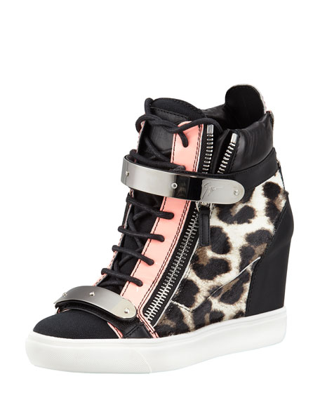 07b0c1d825e Giuseppe Zanotti Leopard-Print Calf Hair Wedge Sneaker