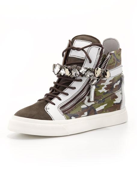 afba0245690f1 Giuseppe Zanotti High-Top Camo Sneaker with Jewel Strap, Gray/Green