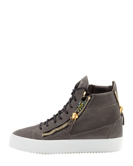 High-Top Crystal Zip Sneaker, Gray